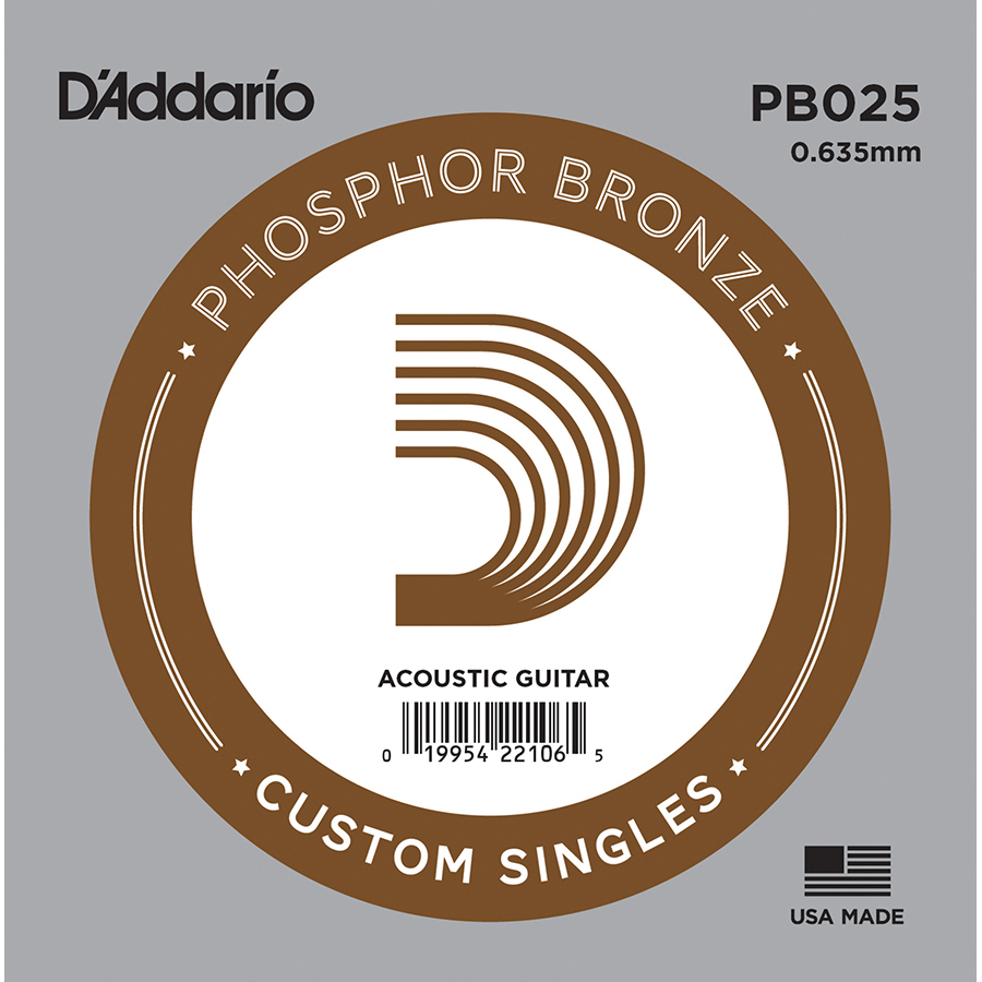 D'Addario Phosphor Bronze Wound .025 Acoustic Guitar String