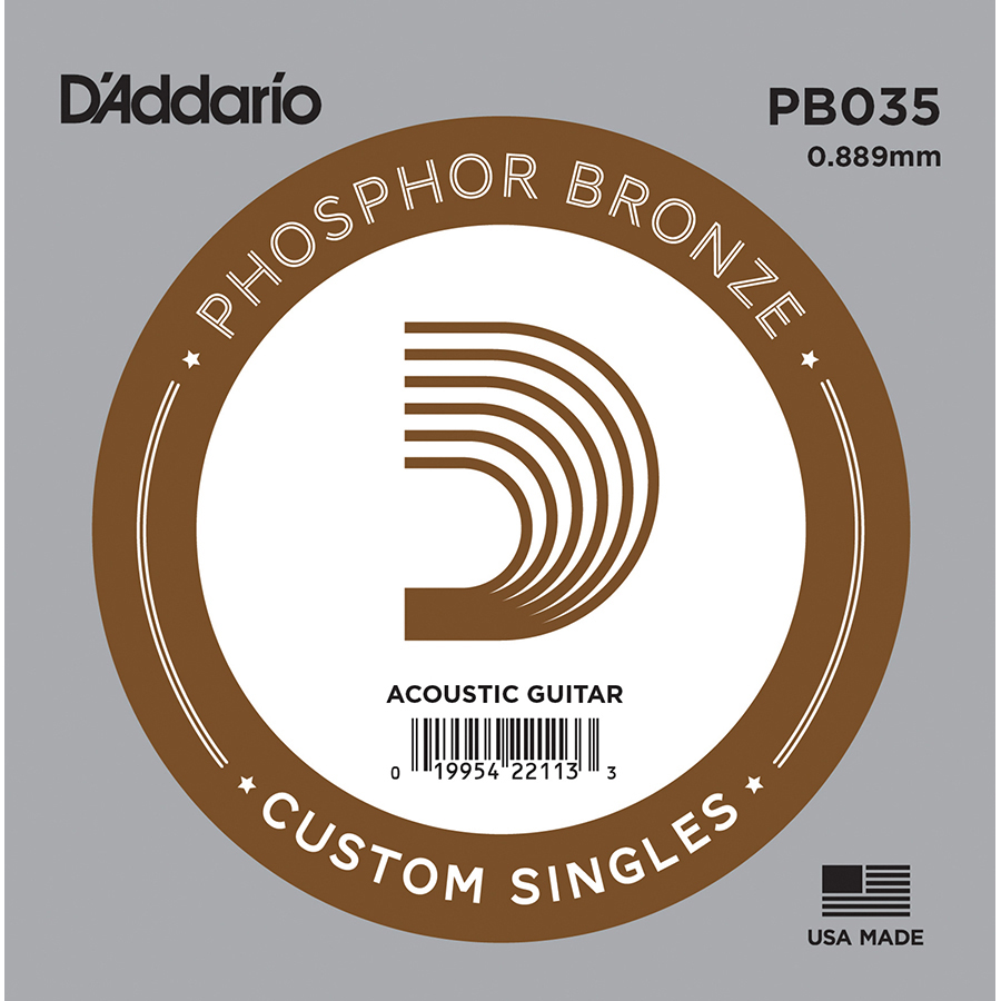 D'Addario PB035 Phosphor Bronze .035, Single Acoustic Guitar String