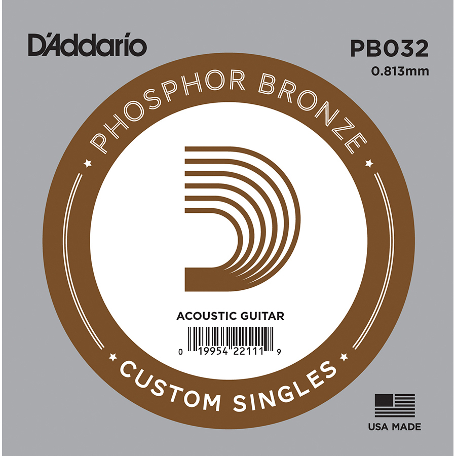 D'Addario PB032 Phosphor Bronze .032, Single Acoustic Guitar String