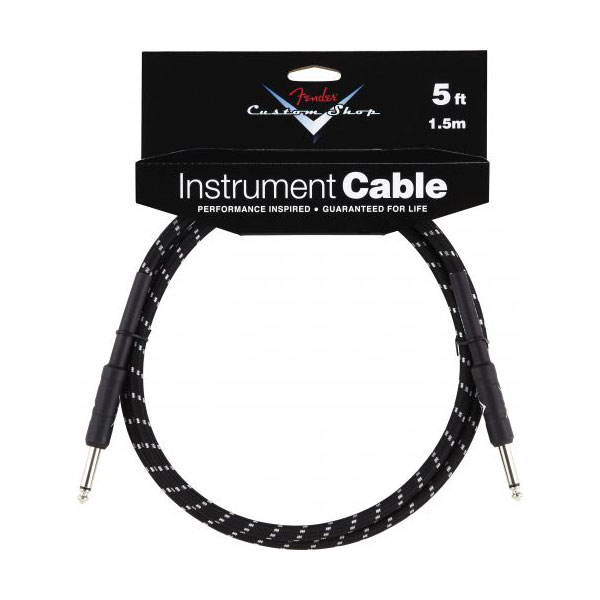 Fender Custom Shop 5ft Straight Black Tweed Instrument Cable