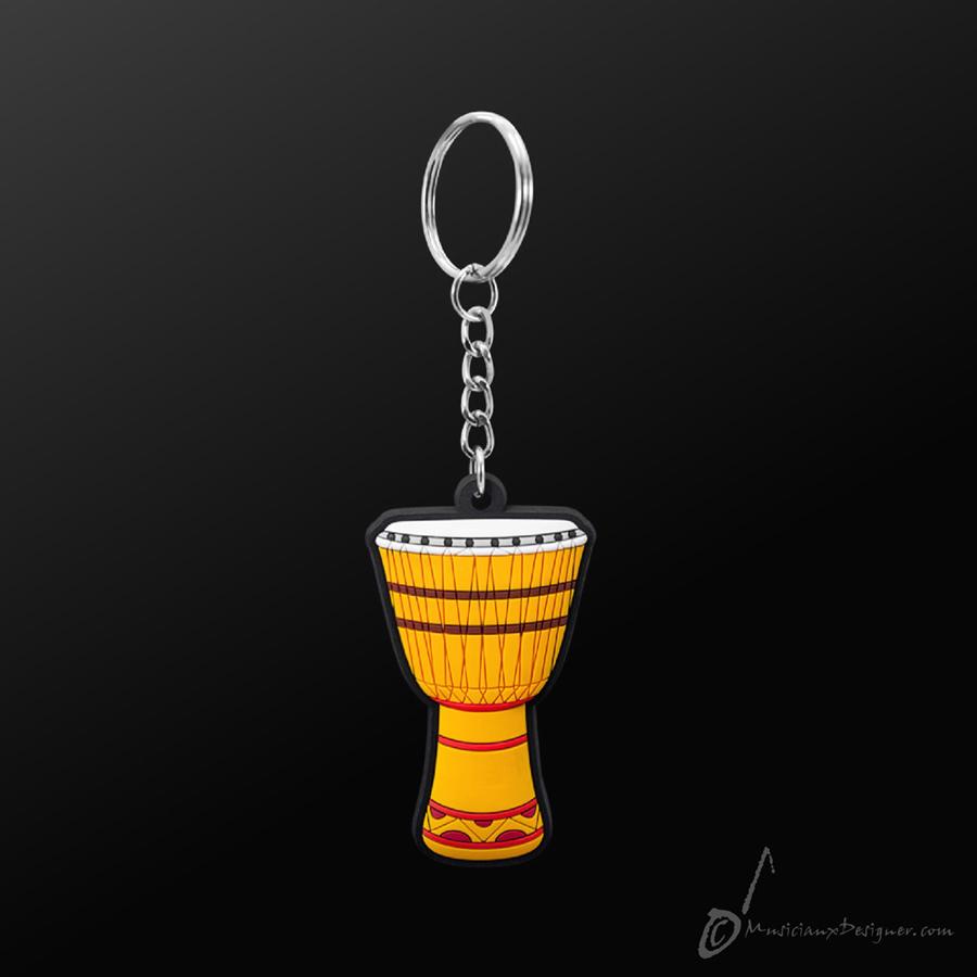 Musician Designer African Drum Yellow Keyring