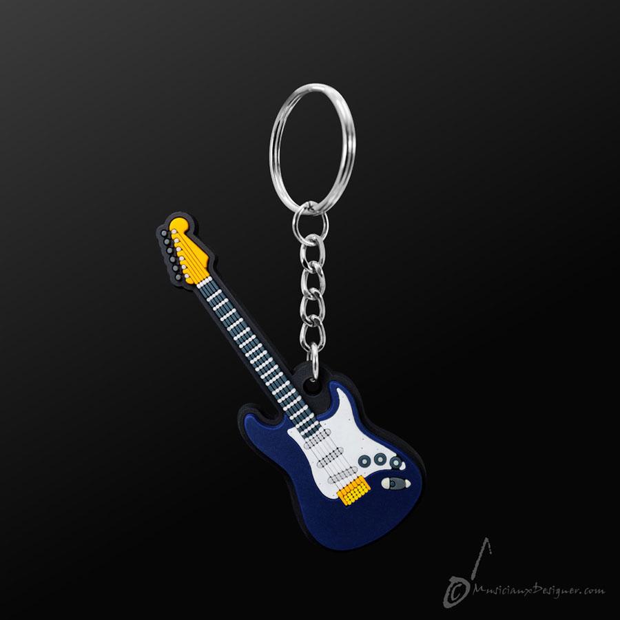 Musician Designer Electric Guitar Blue Keyring