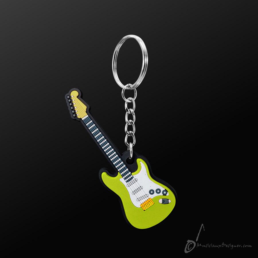 Musician Designer Electric Guitar Green Keyring