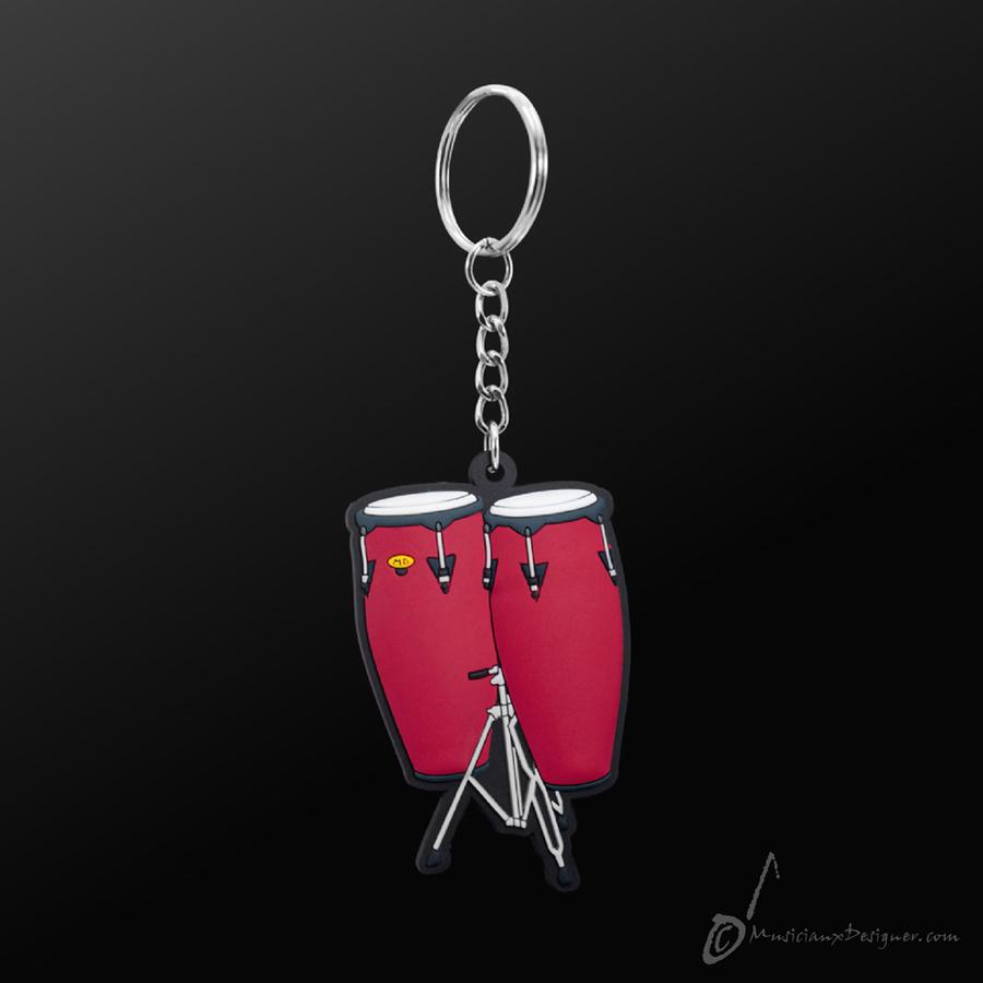 Musician Designer Conga Red Keyring