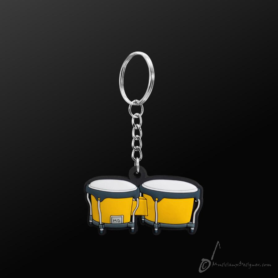 Musician Designer Bongo Yellow Keyring