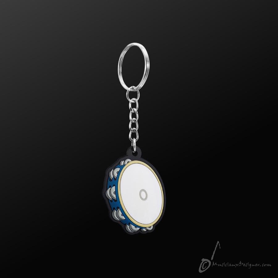 Musician Designer Tambourine Blue Keyring