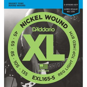 D'Addario EXL165-5 Nickel Wound Custom Light, 45-135 Bass Set