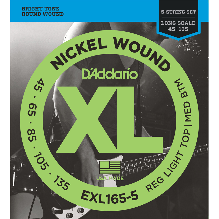 D'Addario EXL165-5 Nickel Wound Custom Light, 45-135, 5-String Bass Set