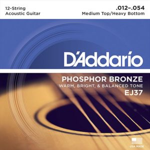 D'Addario EJ37 Phosphor Bronze 12-String, 12-54 Guitar Strings