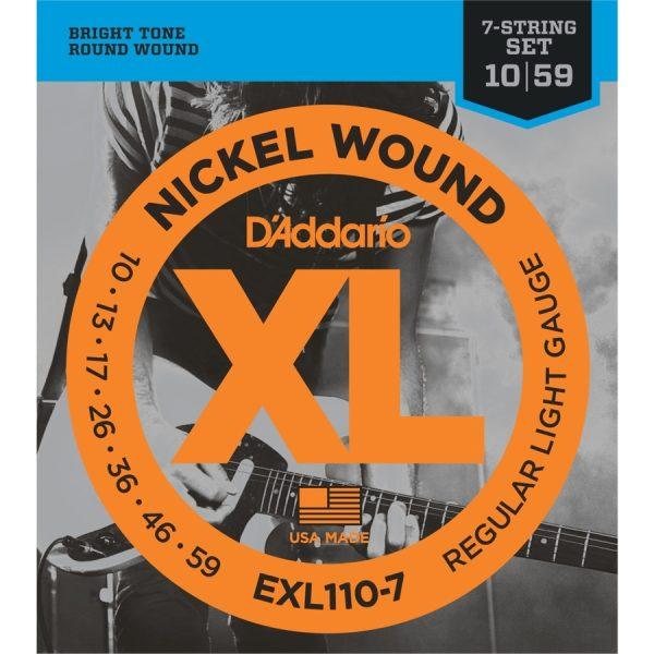 D'Addario EXL110-7 Nickel Wound Reg Light, 10-59 Guitar Strings