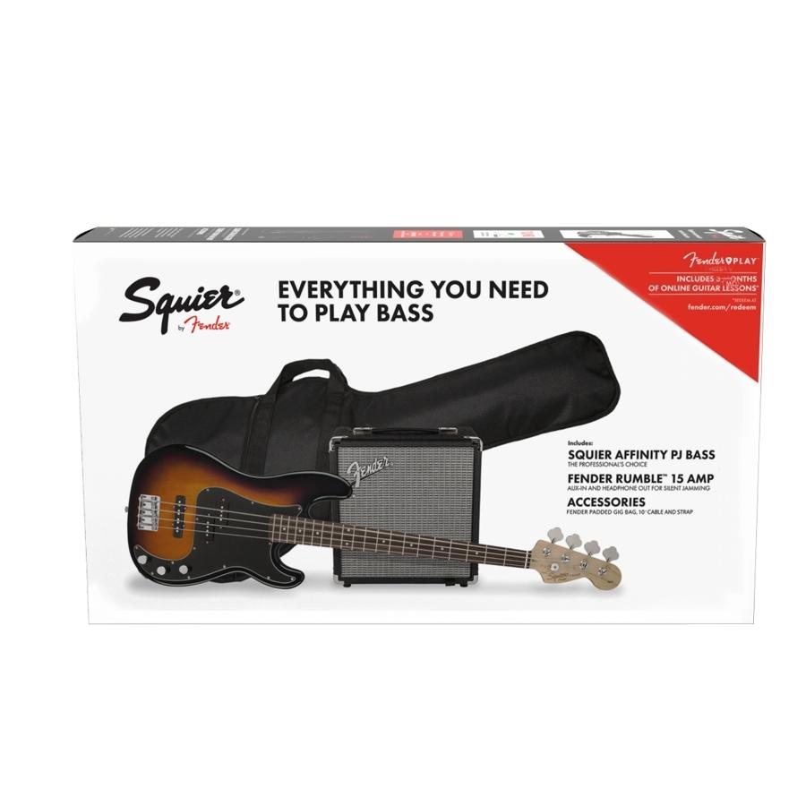 Squier Affinity PJ Bass Sunburst Bass Guitar Pack