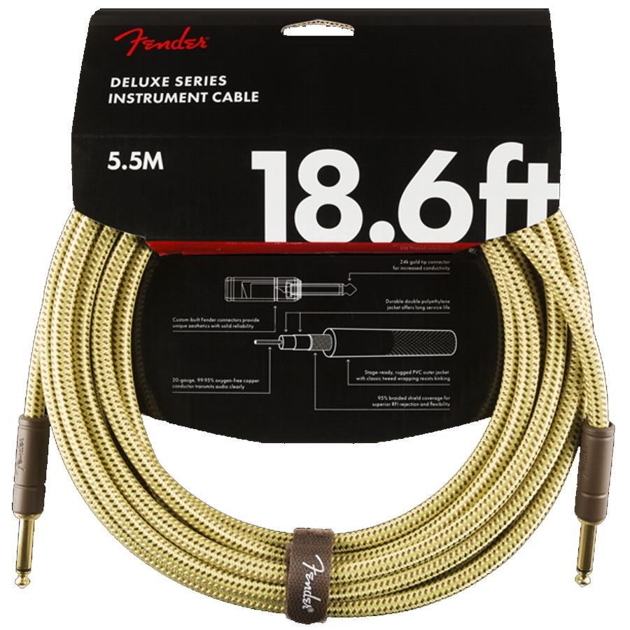 Fender Deluxe 18.6ft, Tweed straight/straight Instrument Cable