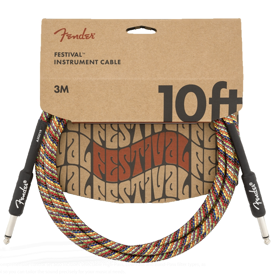 Fender Pure Hemp 10ft, Rainbow straight/straight Instrument Cable
