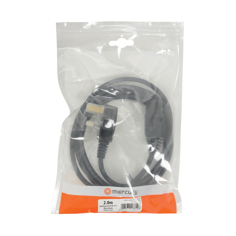 Mercury Hot-IEC Plug 2m, 10A Mains Lead