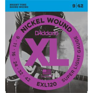 D'Addario EXL120 Nickel Wound Super Light, 9-42 Electric Strings