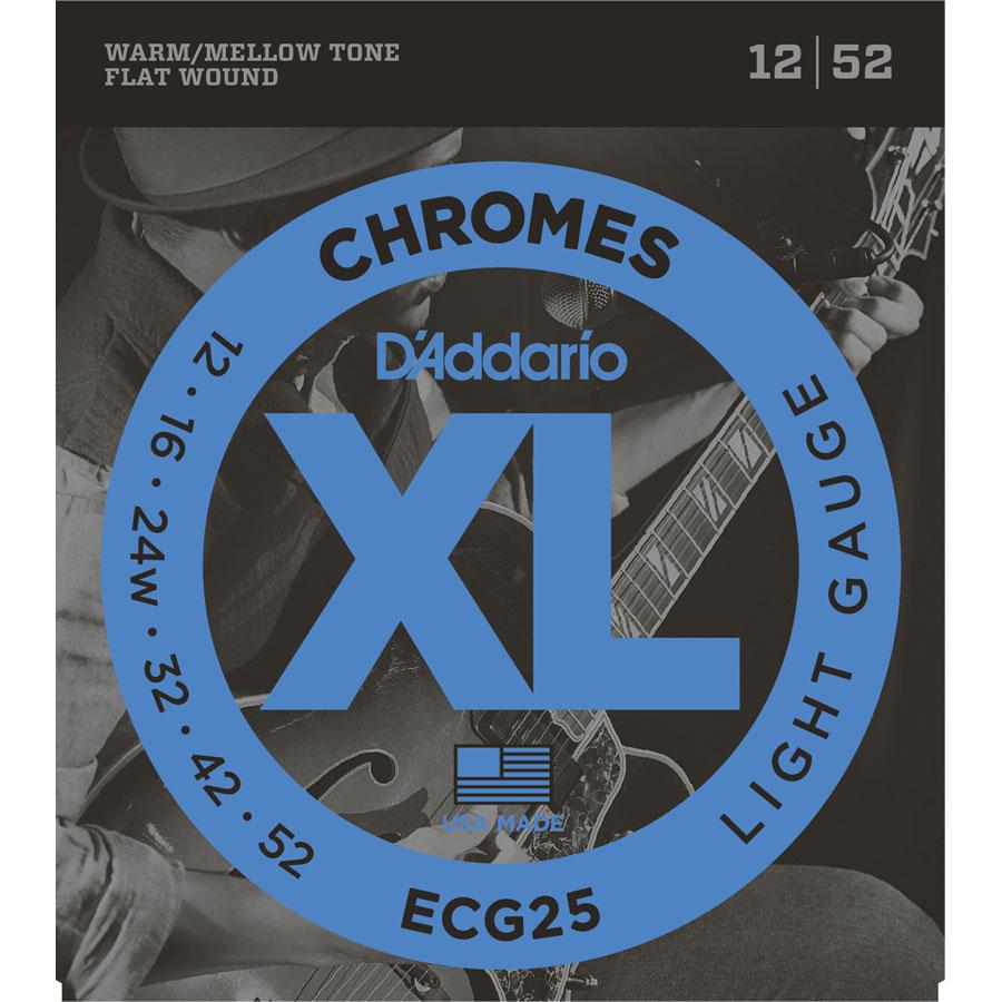 D'Addario ECG25 Chromes Flatwound, 12-52 Strings
