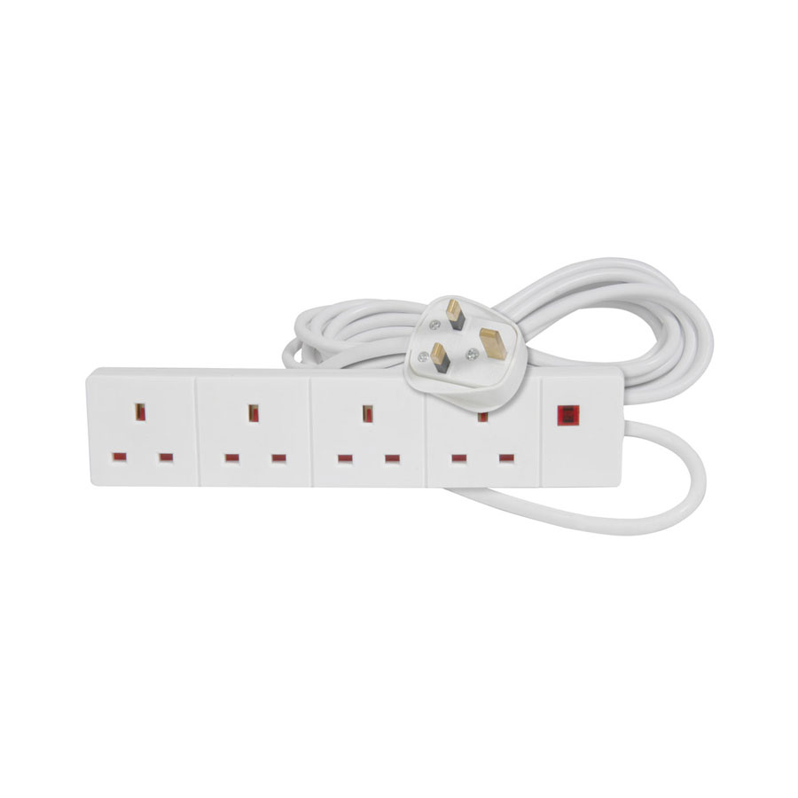 Mercury 3m, White 4-Way Extension Lead
