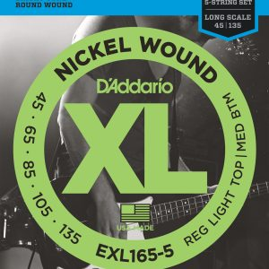 D'Addario EXL165 Nickel Wound Cust Light, 45-105 Bass Set