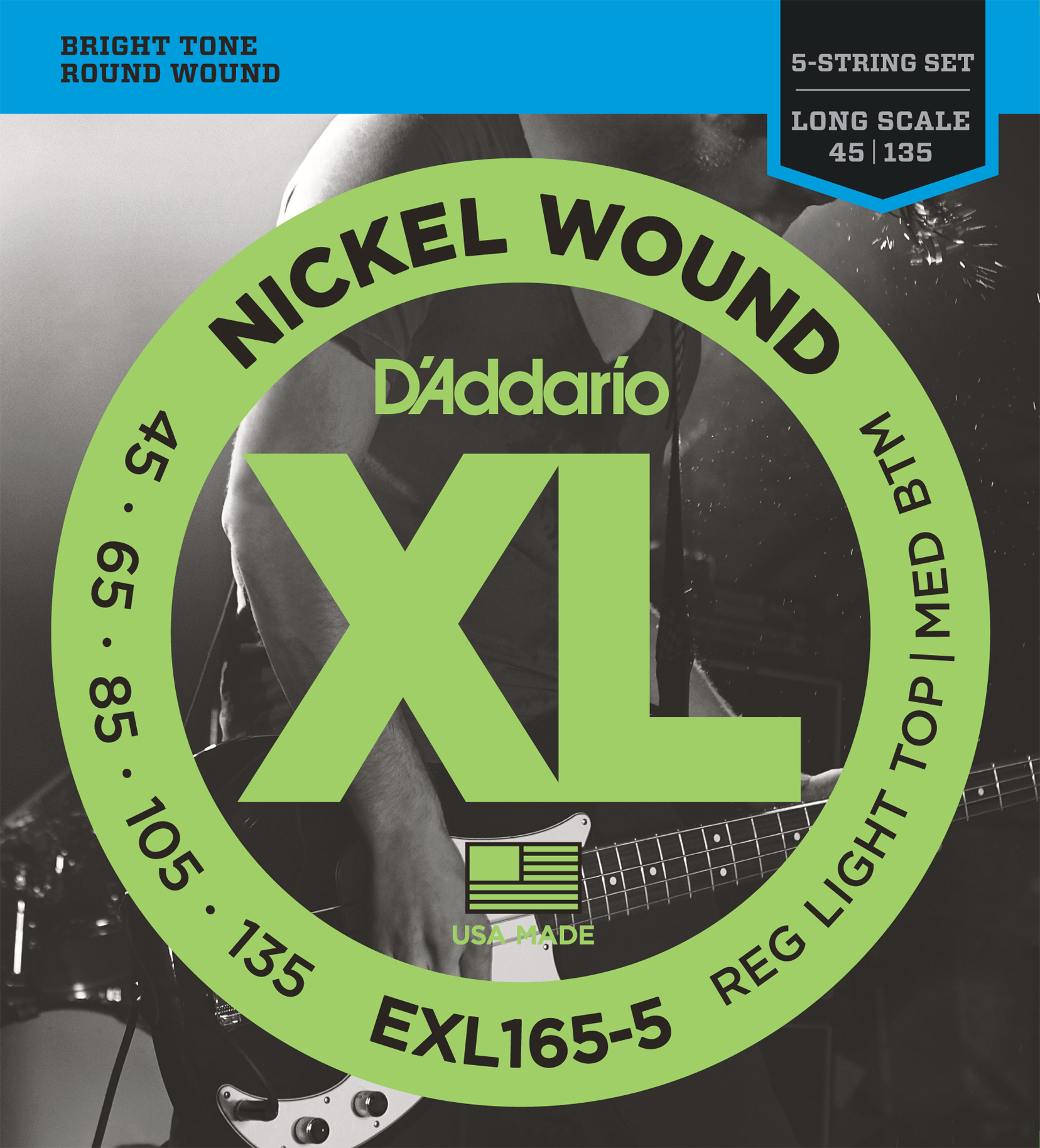 D'Addario EXL165 Nickel Wound Cust Light, 45-105 Bass Strings