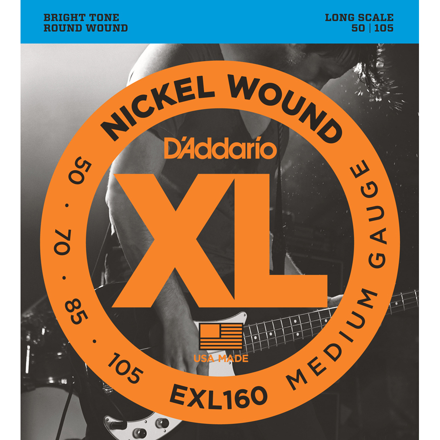 D'Addario EXL160 Nickel Wound Med, 50-105, Long Scale Bass Strings