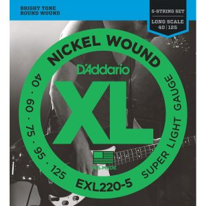 D'Addario EXL220-5 Nickel Wound Super Light, 40-125 Bass Set