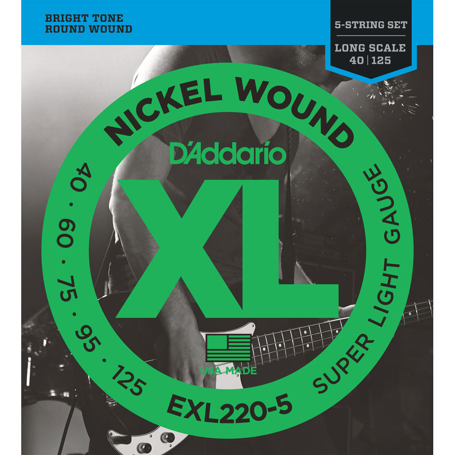 D'Addario EXL220-5 Nickel Wound Super Light, 40-125, 5-String Bass Set