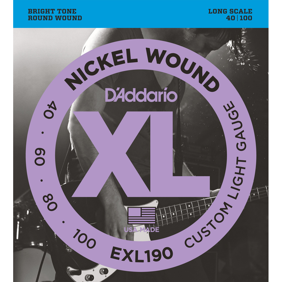 D'Addario EXL190 Nickel Wound Cust. Light, 40-100 Bass Strings