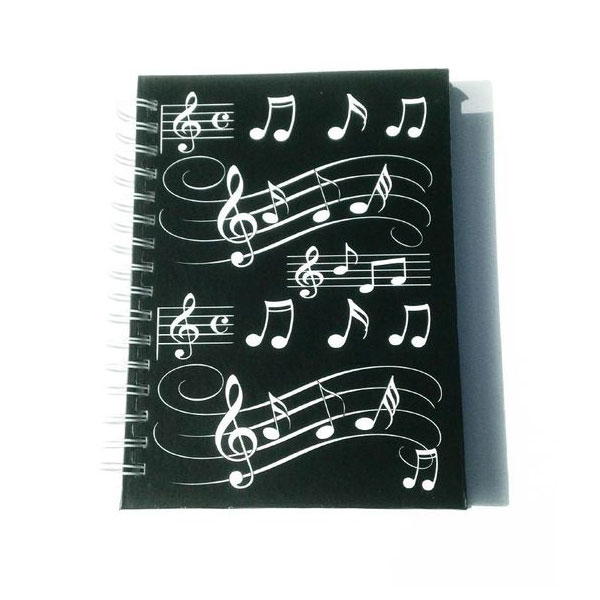 Little Snoring Music Notes A6, White, Spiral Notebook