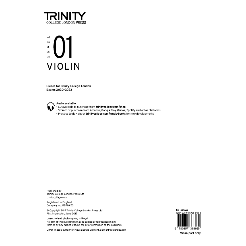 Trinity Violin Grade 1 Exam Pieces 2020-2023 Part