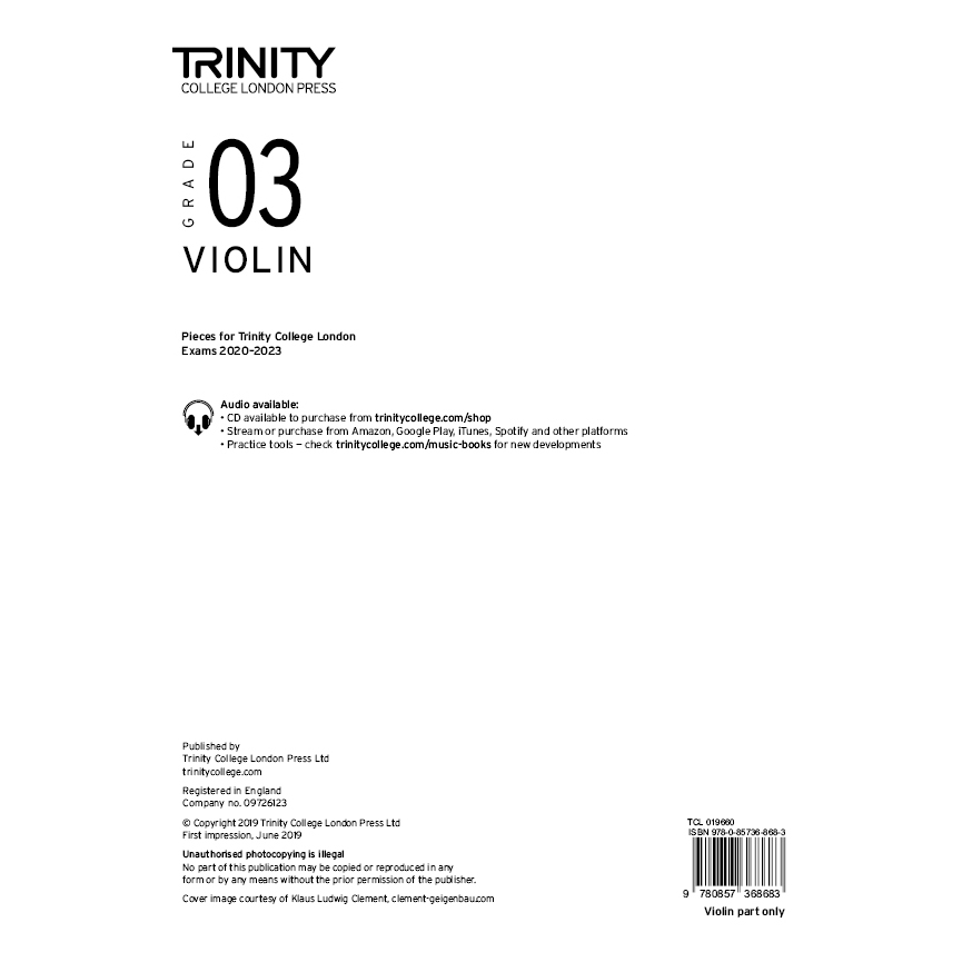 Trinity Violin Grade 3 Exam Pieces 2020-2023 Part