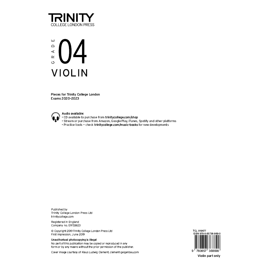 Trinity Violin Grade 4 Exam Pieces 2020-2023 Part
