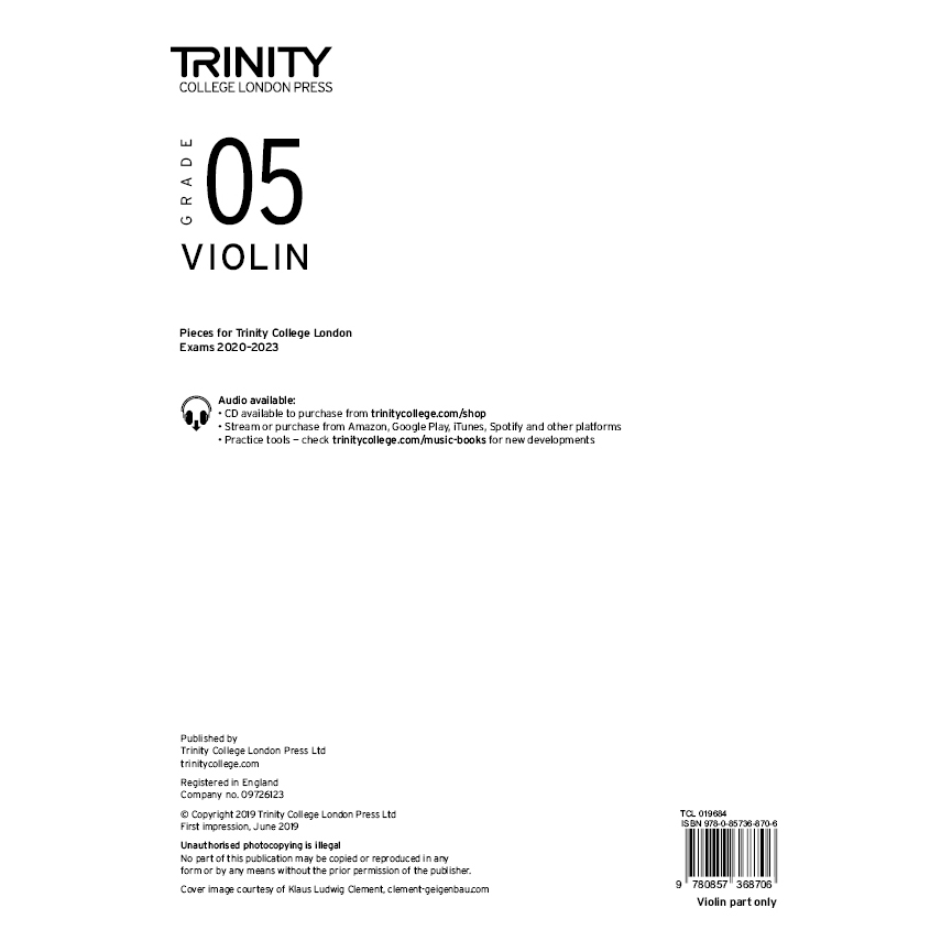 Trinity Violin Grade 5 Exam Pieces 2020-2023 Part