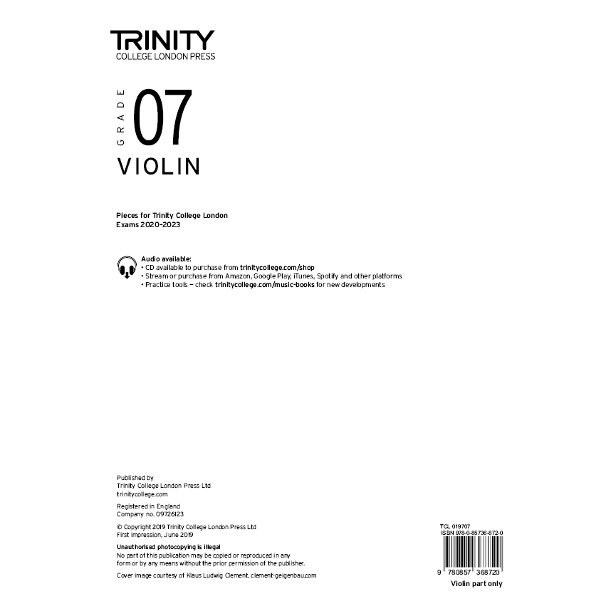 Trinity Violin Grade 7 Exam Pieces 2020-2023 Part