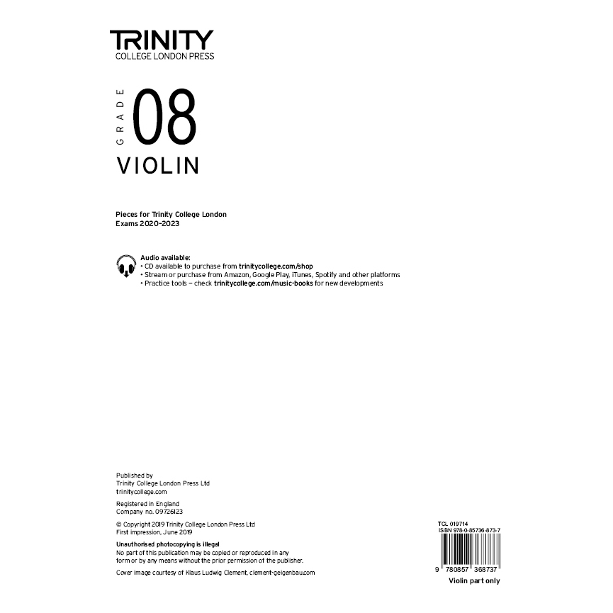 Trinity Violin Grade 8 Exam Pieces 2020-2023 Part